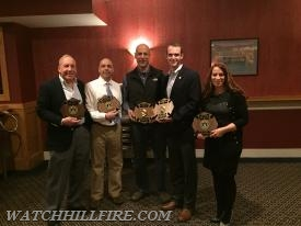 WHFD award winners from left to right: FF Ray Elterich, Deputy Chief Jason Simmons, George Nicholas, Lieutenant Chris Koretski, and Captain Jane Perkins at our annual awards banquet