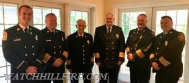 2018 Southern League Officers at their Installation Banquet. (L-R) Lt. Koretski, Chief Peacock, Chief Stanley, Chief Barrington, Chief Barber, and Chief Lee.