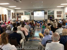WHFD Fire Chief Bob Peacock and Firefighter & Historian Jack Spratt talk about the great Watch Hill fire of 1916 to the audience.