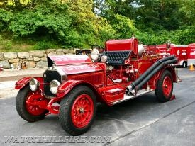 """Alfie"" a 1917 American LaFrance, the first motorized pumper purchased in Westerly returned home to Watch Hill on Tuesday night."
