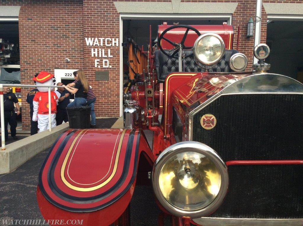 Alfie returns home for an evening.  Alfie is a 1916 American LaFrance pumper that was originally owned by Watch Hill.  It was the first motorized pumper in Westerly.