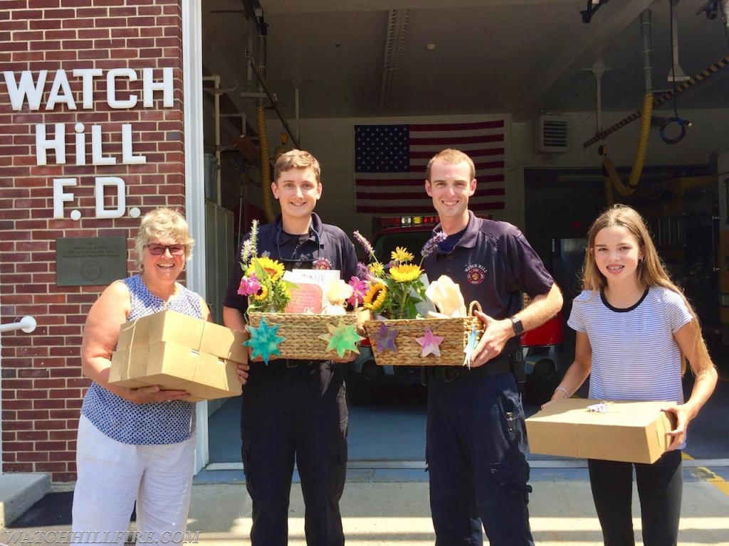 WHFD firefighters receive care packages from the students and staff of the Meadowbrook Waldorf School following a fire last week at the school.