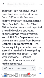 We are always happy to provide mutual aid assistance to our neighbors!  Misquamicut deserves the credit for their excellent work!