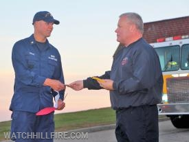 Chief Peacock presented Watch Hill patches to all of the Coast Guard members