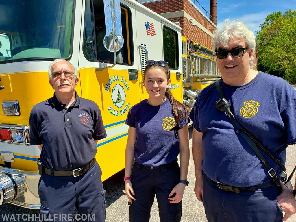 Watch Hill Lieutenant Dennis Mello, Firefighter Annie Wood, and Firefighter Bob Perkins