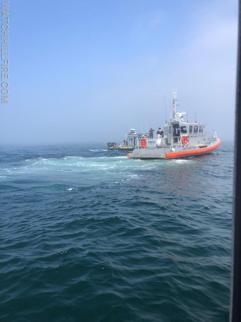 US Coast Guard 45637 and the  New York State Department of Environmental Conservation Police on scene of a sinking boat call on Saturday morning.