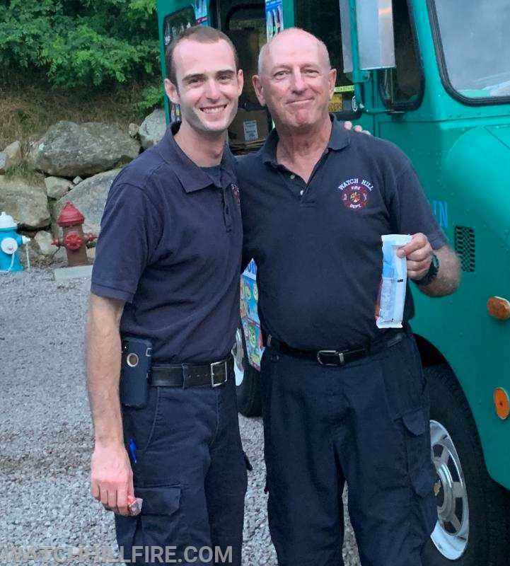 Lieutenant Chris Koretski and Lieutenant Bill Davis take a quick ice cream break at the end of the night!