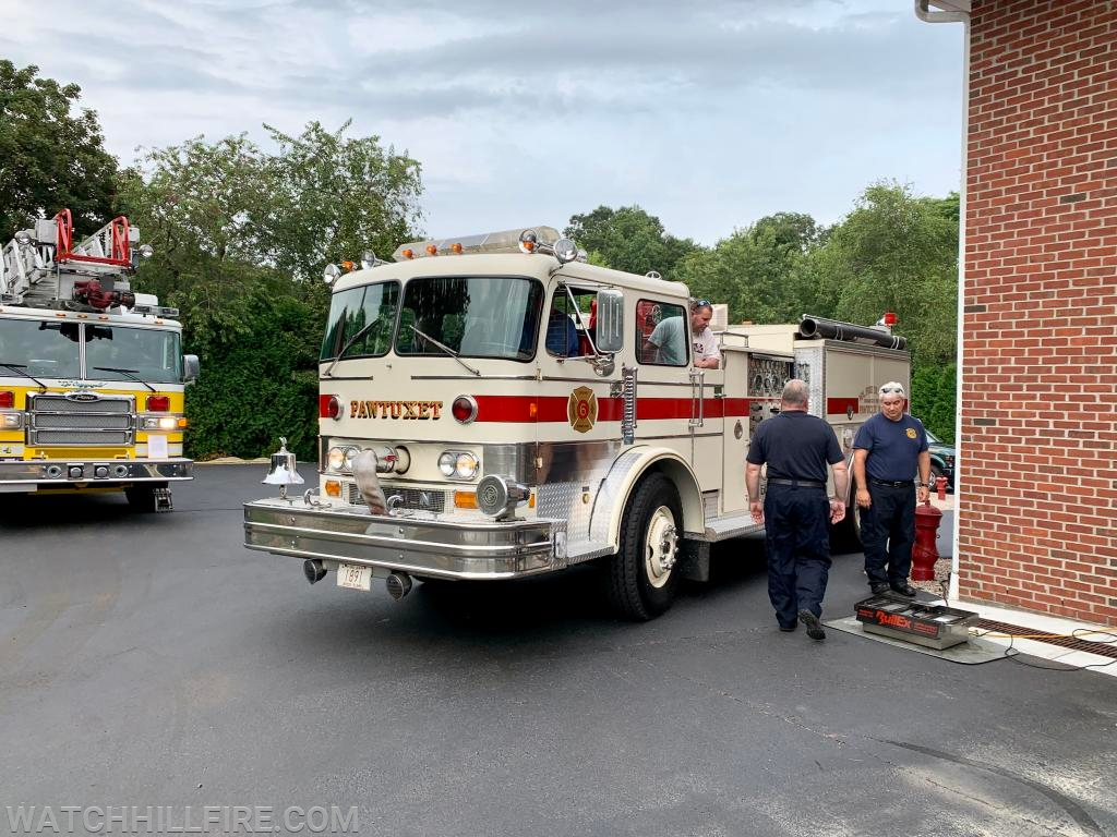 Chief Peacock directs the Pawtuxet Fire Truck where to go