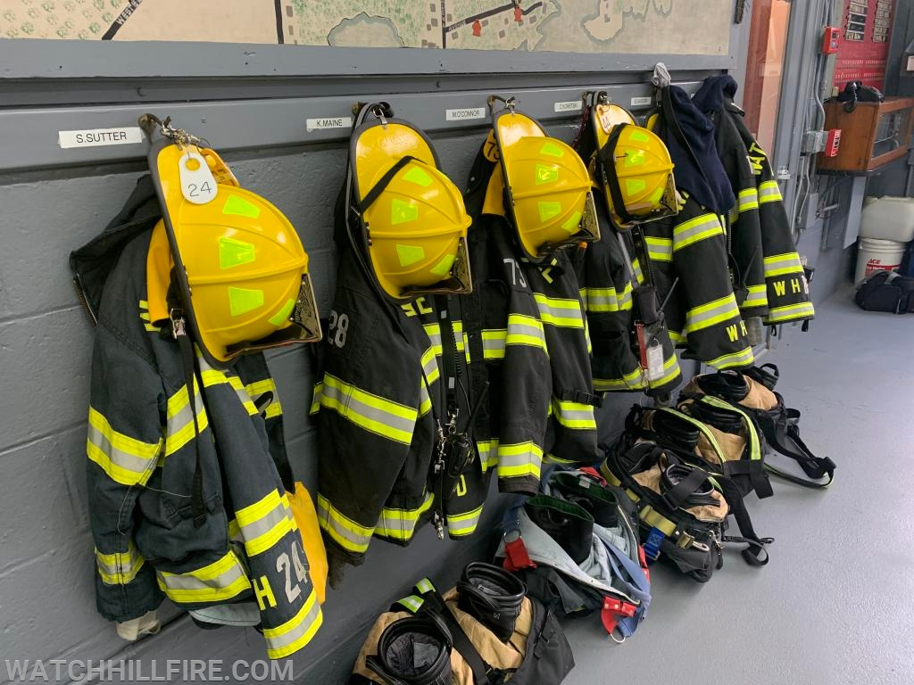 Turnout gear stands ready in the Fire House