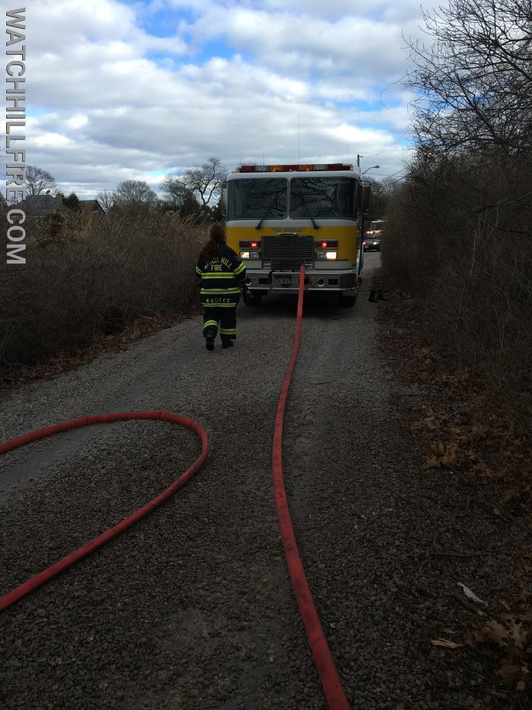 Watch Hill Engine 102 and Engine 103 at the scene of a small brush fire.