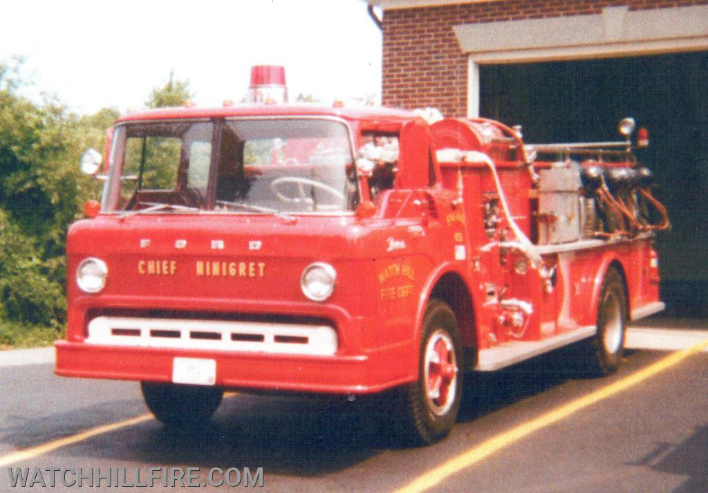 """Engine 103, named """"Chief Ninigrit"""" on the front, was a  1967 Ford Farrar pumper with a  750 Gallon Tank and a 750 Gallon Per Minute Bronze Pump that was specifically designed for pumping salt water."""