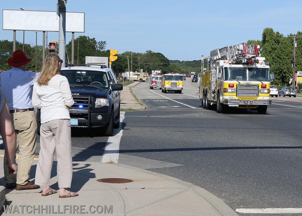 Watch Hill Ladder 104 and Engine 103 Travel Through Dunn's Corners!