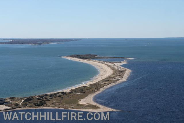 Napatree Point Rhode Island in the Foreground with Fishers Island New York in the background.