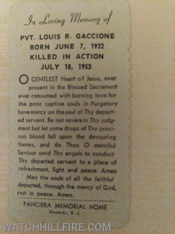 A funeral card from the funeral in Westerly.