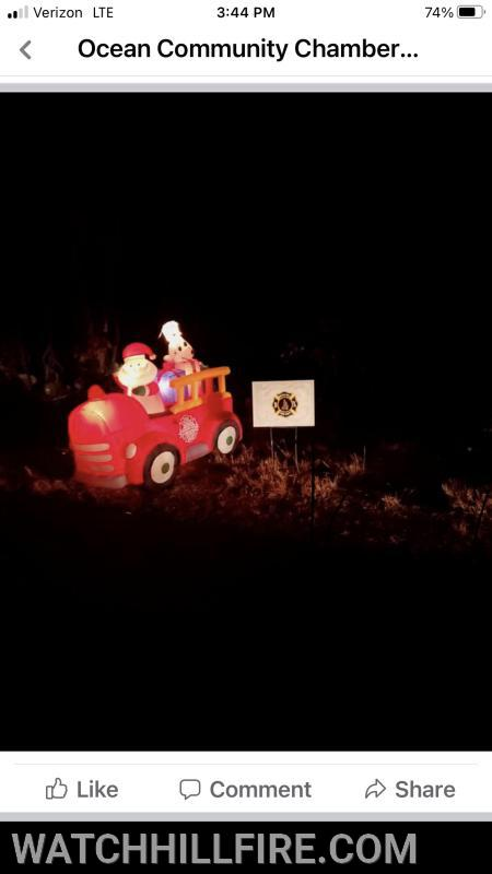 Watch Hill Fire was honored to support the Ocean Community Chamber of Commerce as they provided the community with an opportunity to drive past several inflatable displays as they waved to Santa on Friday night.