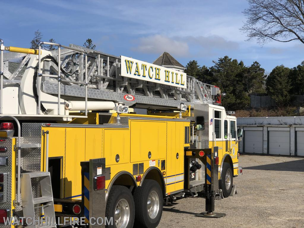 Ladder 104 is positioned in a location that allows full aerial ladder access to the roofs of four of the five buildings located in the Watch Hill Motor Court Complex