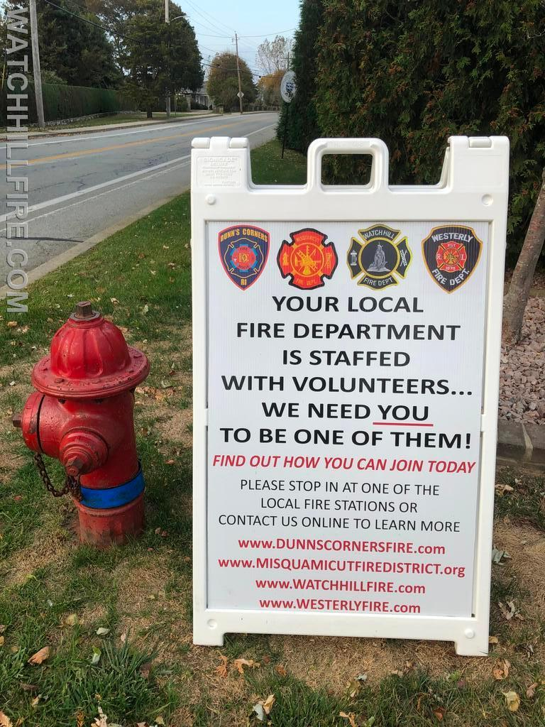 All four of the fire districts that cover the town of Westerly are actively seeking additional members.