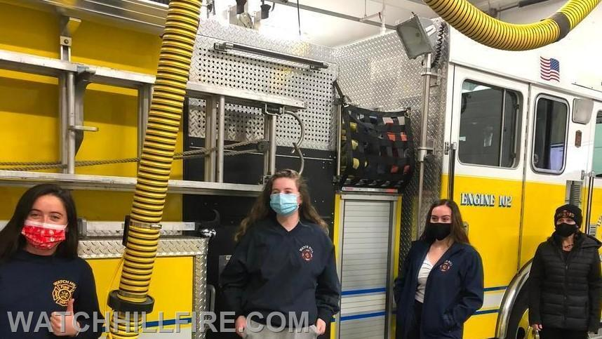 Firefighter Annie Wood, Firefighter Julie Wood, Firefighter Lauren Wilks and Captain Jane Perkins after a training session during COVID.