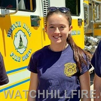 Firefighter Annie Wood at a safety event at Westerly Hospital.