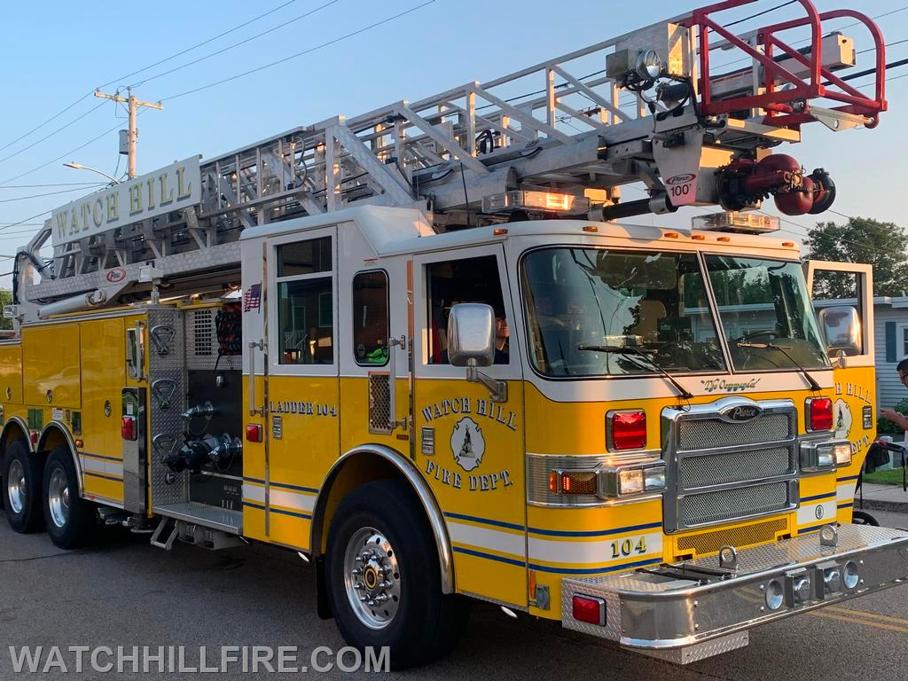 Ladder 104 at the second stop of the parade in Weekapaug