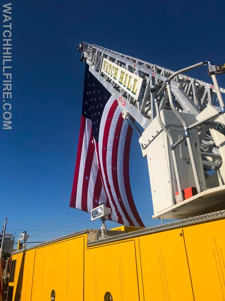 Watch Hill Ladder 104 Raises The American Flag